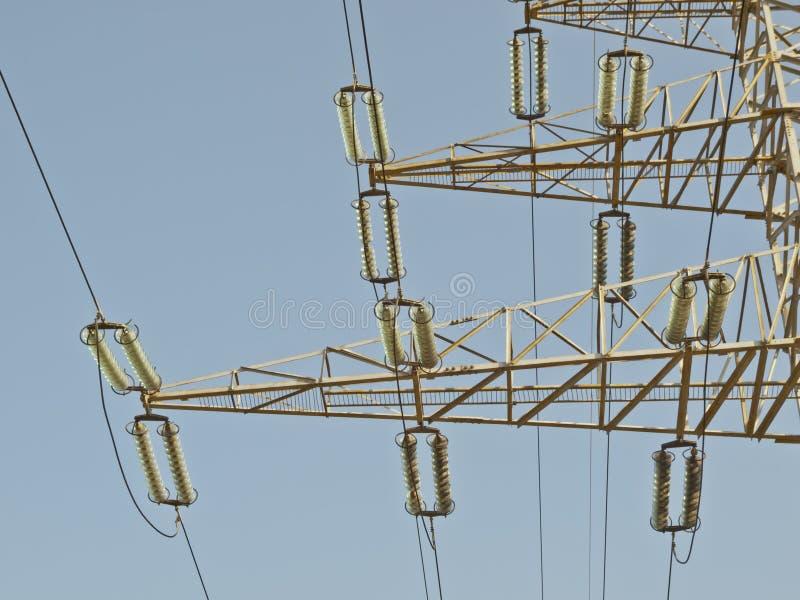 Electricity pillar. High-voltage line stock photo