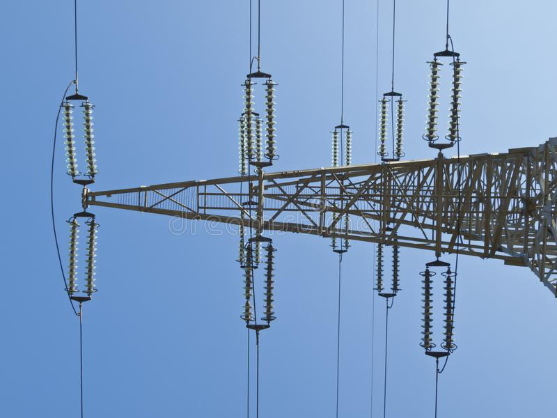 Electricity pillar. High-voltage line stock photography