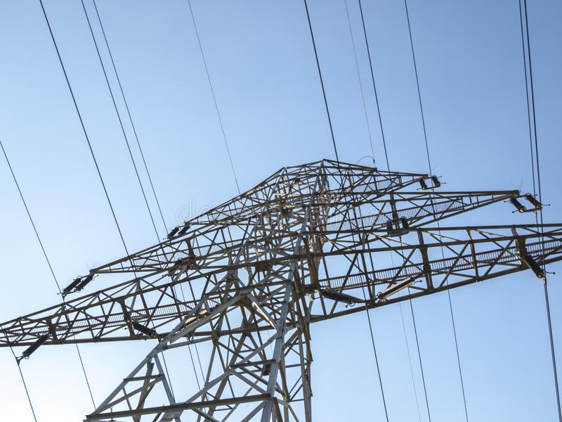 Electricity pillar. High-voltage line royalty free stock photography