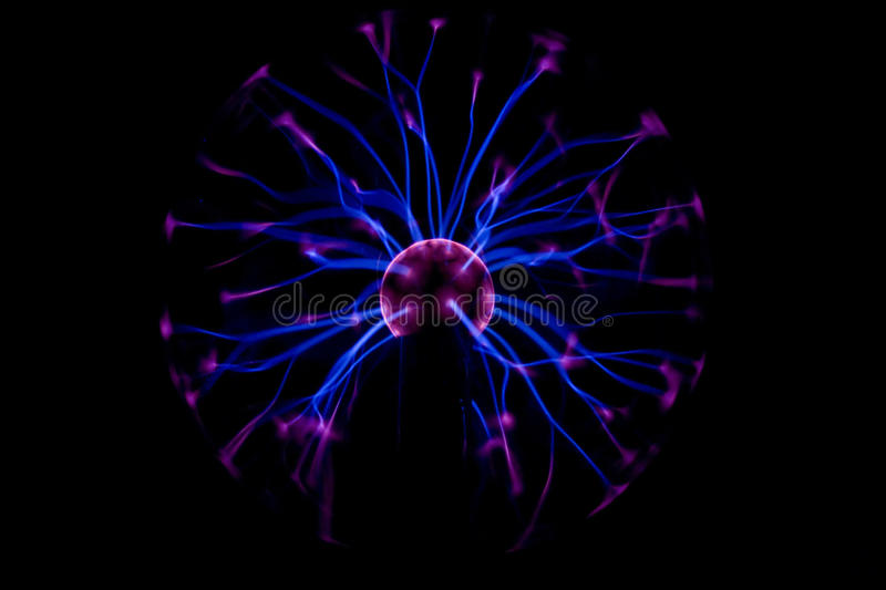 Electricity in plasma ball royalty free stock image