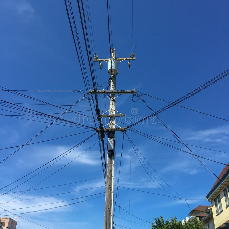 Electricity pole in the streets of San Francisco stock photo