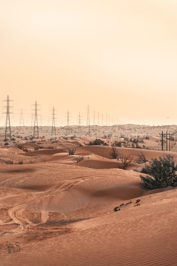 Electricity Poles In The Desert Royalty Free Stock Photo