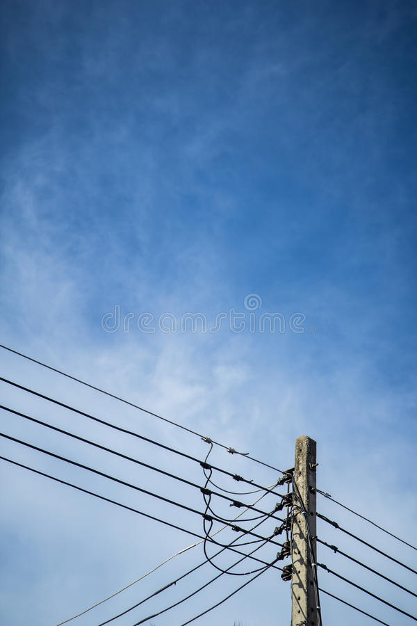 Download Electricity post stock photo. Image of power, wire, blue - 32409986