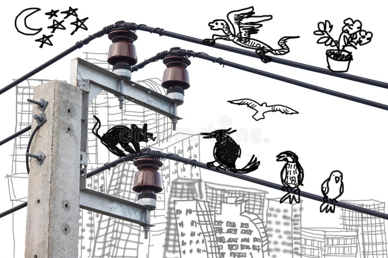 Electricity post with doodle drawing royalty free illustration