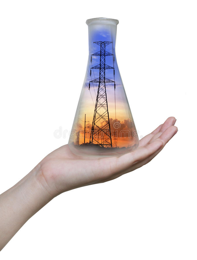 Electricity post in an erlenmeyer flask on hand. Electricity post on sunset in an erlenmeyer flask on hand isolated on a white background royalty free stock photo