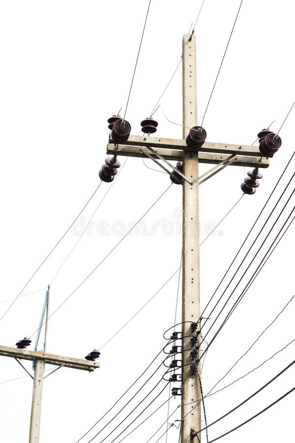 Download Electricity Post  Isolated On White Stock Image - Image: 37399571