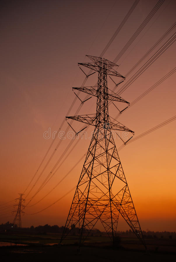 Electricity post in the morning royalty free stock photography