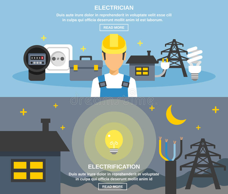 Electricity And Power Banners Set stock illustration