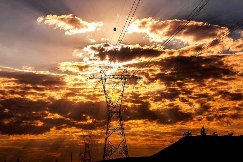 Electricity Power Distribution. With Electricity Towers stock image