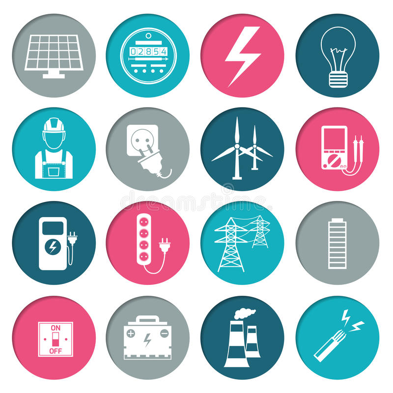 Electricity power icons set royalty free illustration