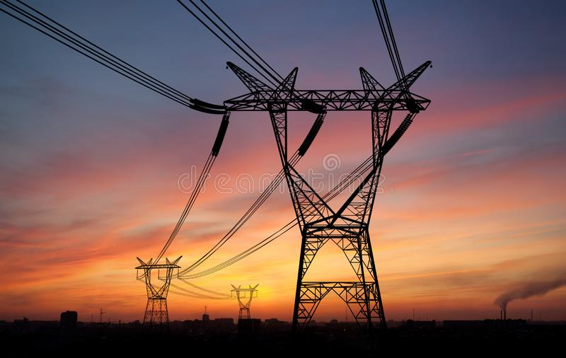 Electricity power pylons stock photos