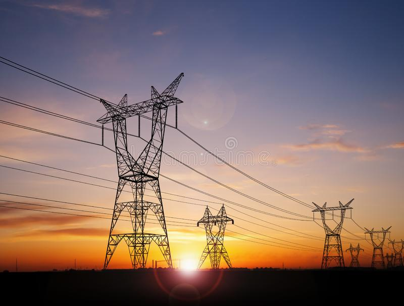 Electricity power pylons royalty free stock image