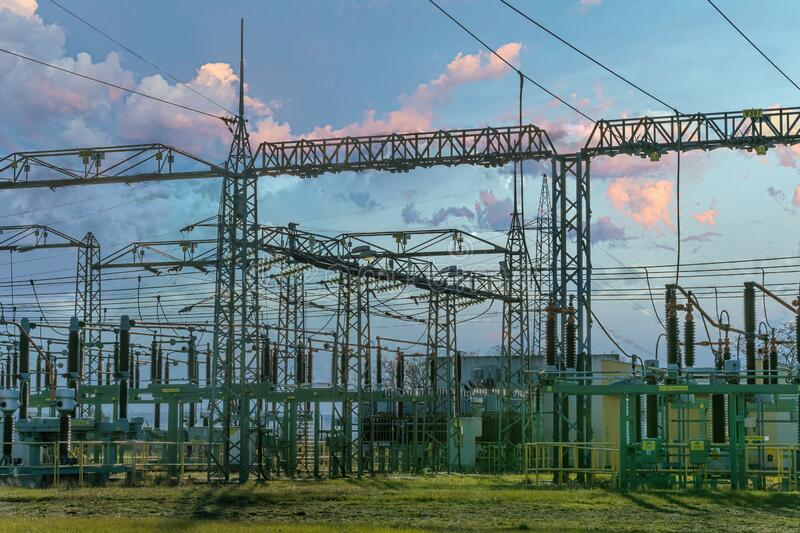 Electricity power station. Electrical power infrastructure concept. stock image