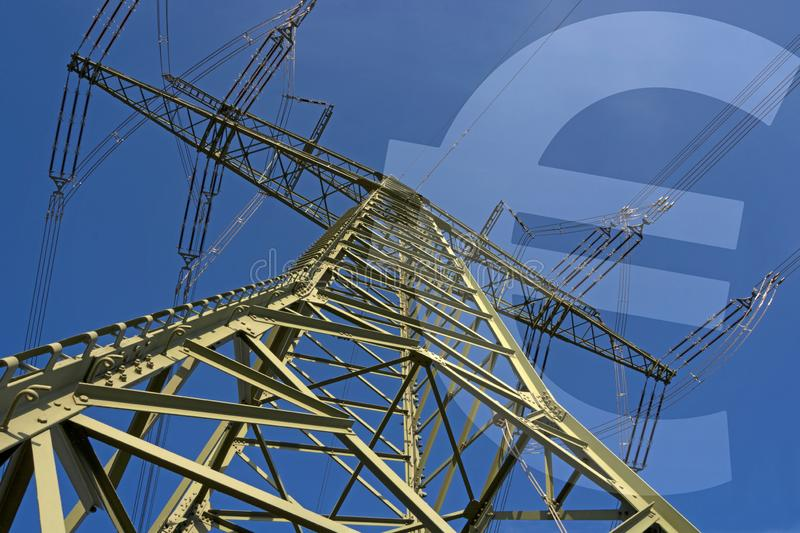 Electricity price, Illustration consisting of electricity pylon and Euro symbol. Illustration `Electricity price`, consisting of electricity pylon and Euro stock image