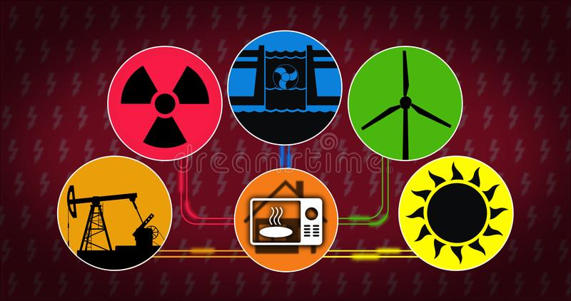 Electricity source production and consumption concept vector illustration