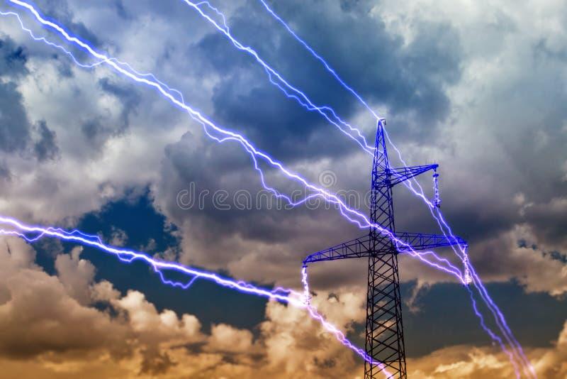 Electricity pylon. On blue sky background