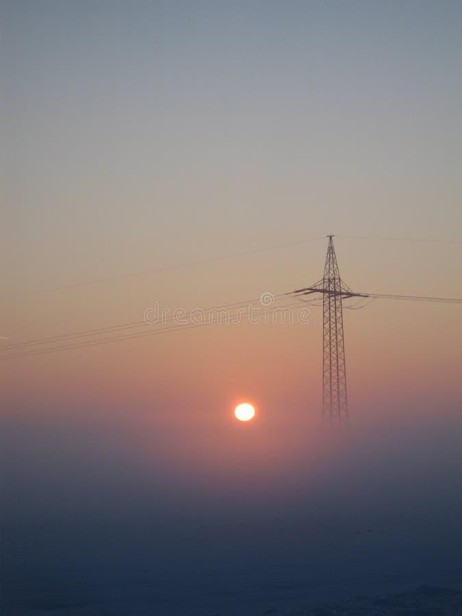Electricity Pylon In Foggy Sunrise Free Public Domain Cc0 Image