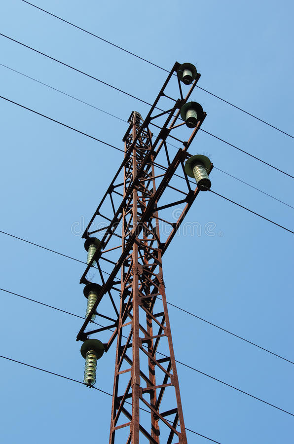 Electricity Pylon With Insulators And Power Lines Stock Image