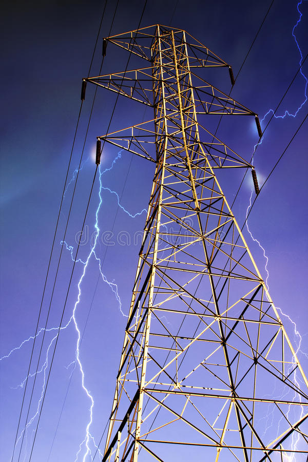 Download Electricity Pylon With Lightning In Background. Stock Photo - Image: 12912854