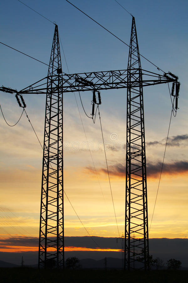 Download Electricity Pylon On Sunset Stock Image - Image: 24786633