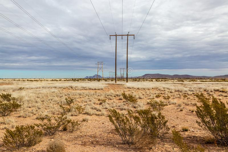 Electricity Pylons in Rural New Mexico stock photos