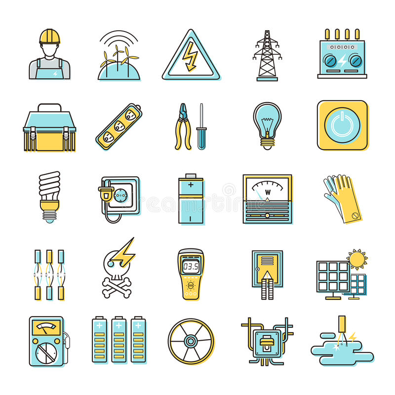 Electricity related flat line icons set. Over white background stock illustration