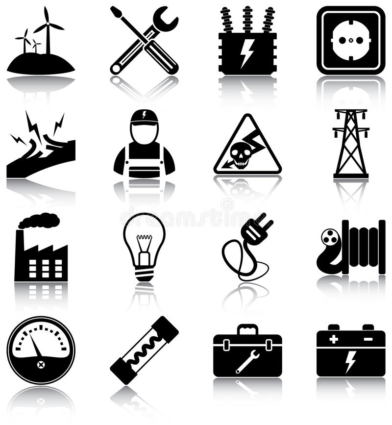Electricity. Related icons/ silhouettes