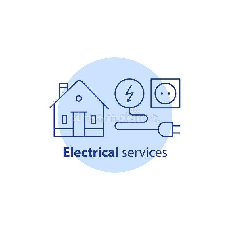 Electricity repair works, house electrical services, home improvement, vector stroke icon. House electrical services, electricity repair works, home improvement vector illustration
