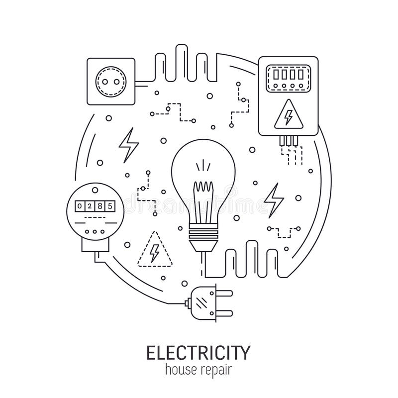 Electricity round concept. Electricity and energy round concept made in modern line style. Household power supply, electronic devices. Can be used for stock illustration