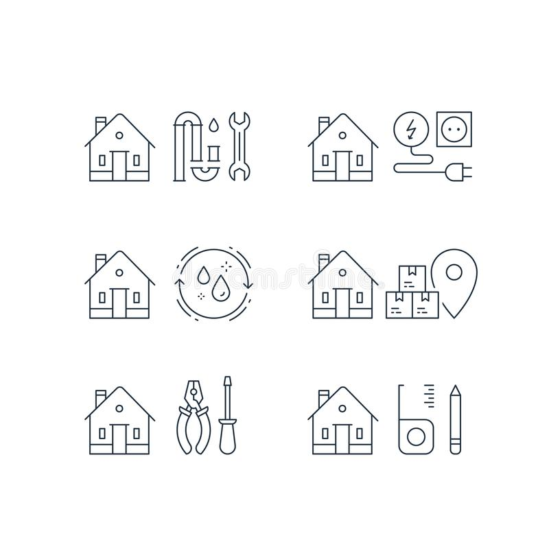 Plumbing repair, p-trap clog, electricity service, home cleaning, moving house, box delivery, home maintenance, vector stroke icon. Electricity services stock illustration
