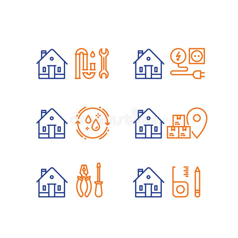 Plumbing repair, p-trap clog, electricity service, home cleaning, moving house, box delivery, home maintenance, vector stroke icon. Electricity services royalty free illustration