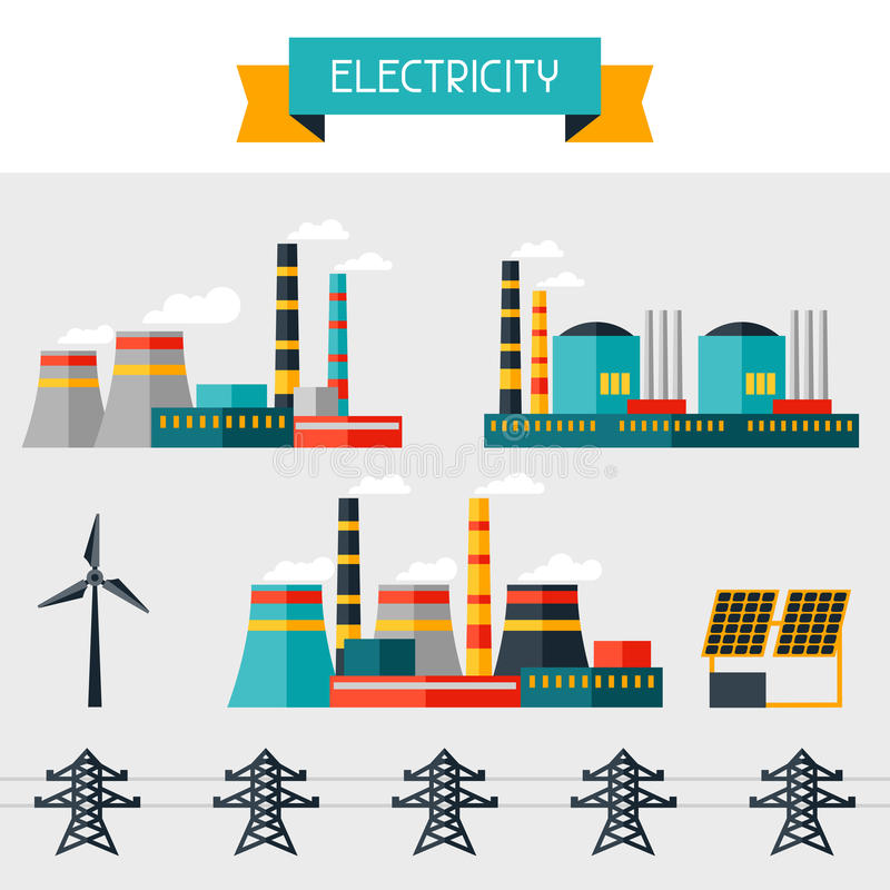 Electricity set of industry power plants in flat. Design style vector illustration