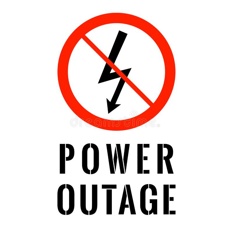 Power Outage Electricity Symbol In Red Ban Circle With Text Below Stock Vector Illustration Of Concept Cable 151740792