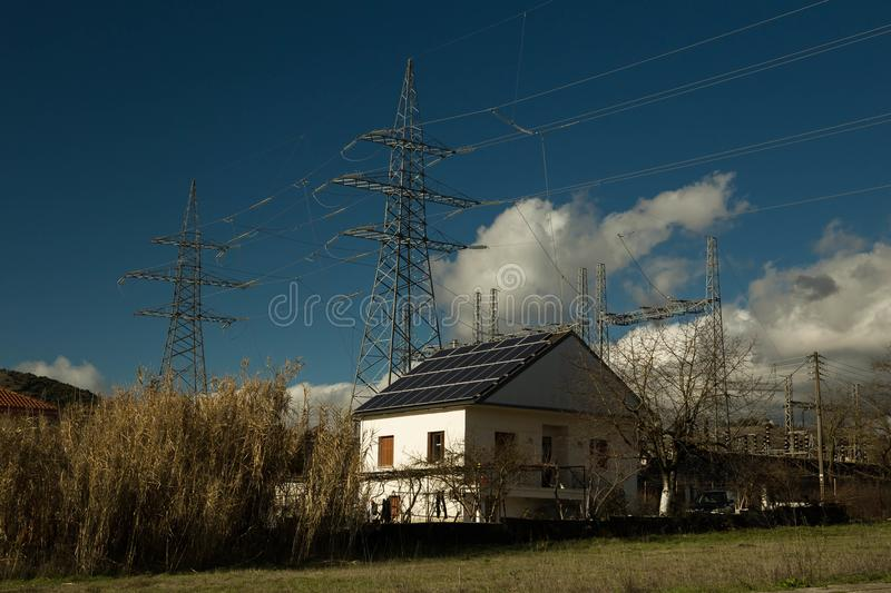 Electricity solar panels photovoltaic energy house roo royalty free stock photography