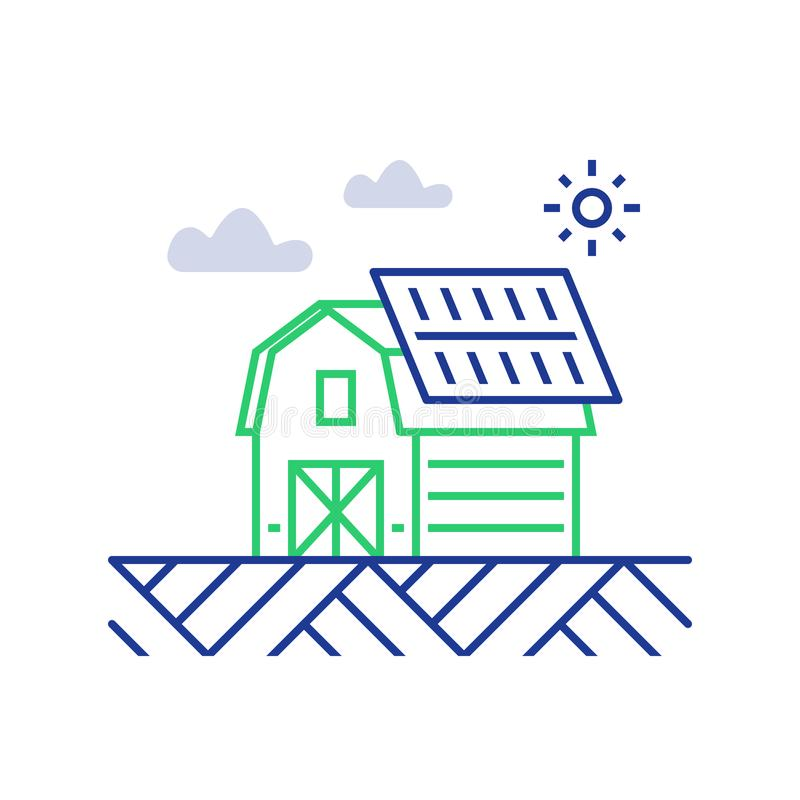 Electricity supply, solar panels on roof of farm house, sun energy concept vector illustration