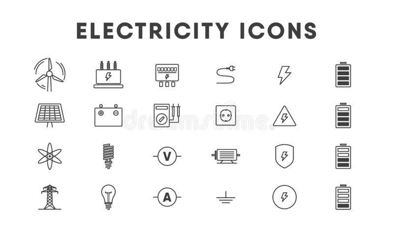 Electricity thin line icon set. Energetics. Vector royalty free illustration