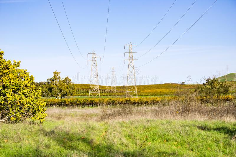 Electricity towers in the afternoon light, Livermore, east San Francisco bay area, California royalty free stock photography