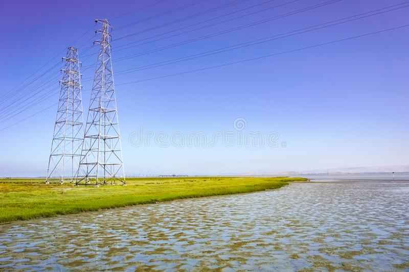 Electricity towers in the bay area, Baylands Park, Palo Alto, San Francisco bay area, California stock photography
