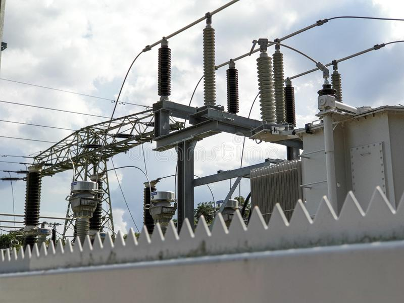 Electricity transformer on station. High voltage! royalty free stock image