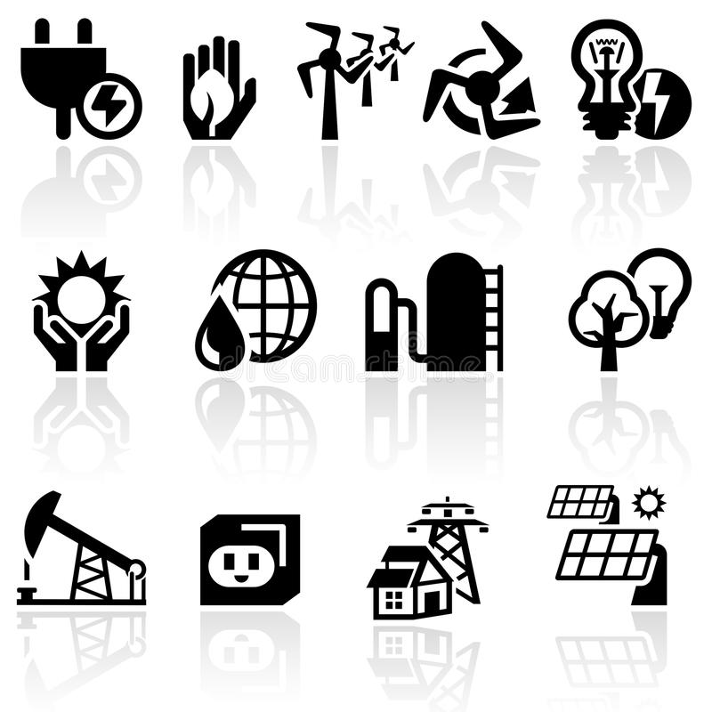 Electricity vector icon set stock illustration