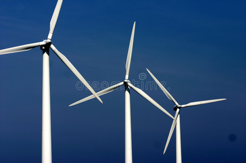Electricity wind mills stock image