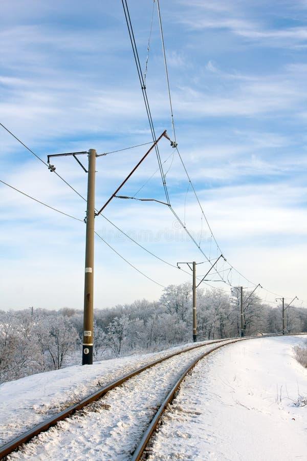 electrified железнодорожная зима стоковые фото