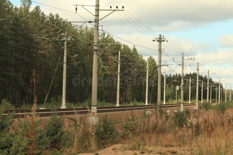 Electrified железнодорожный идти в расстояние стоковое фото rf