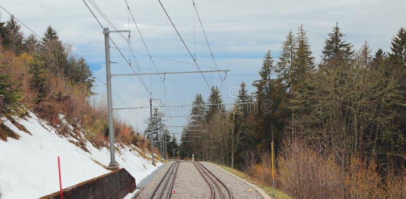Electrified железная дорога горы Paccot, Монтрё, Швейцария стоковая фотография rf