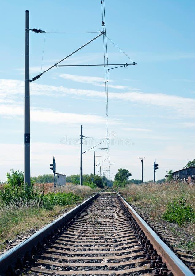 Electrified железнодорожный путь стоковое фото rf