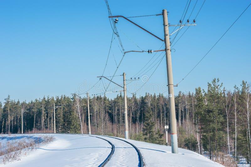 Electrified железнодорожный путь стоковая фотография rf