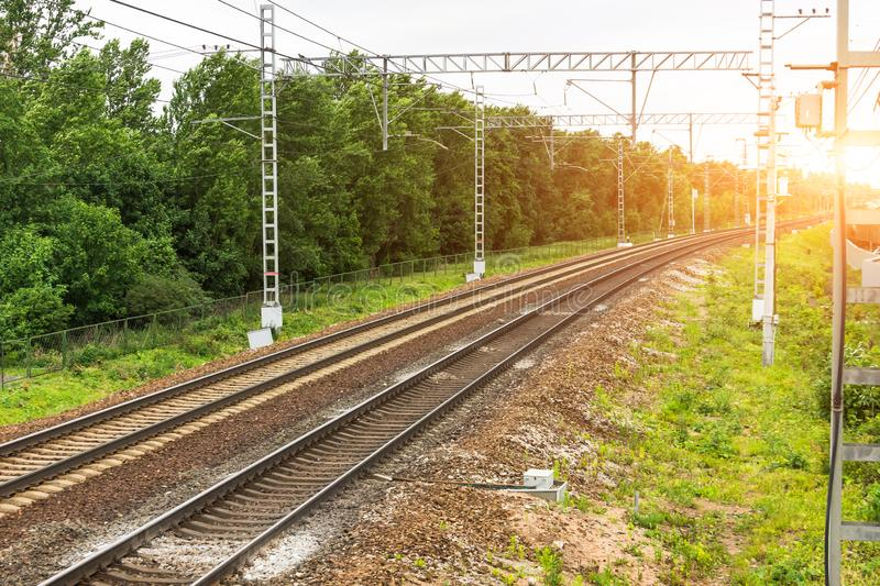 Electrified empty railway with two ways. View of the turn.  stock images