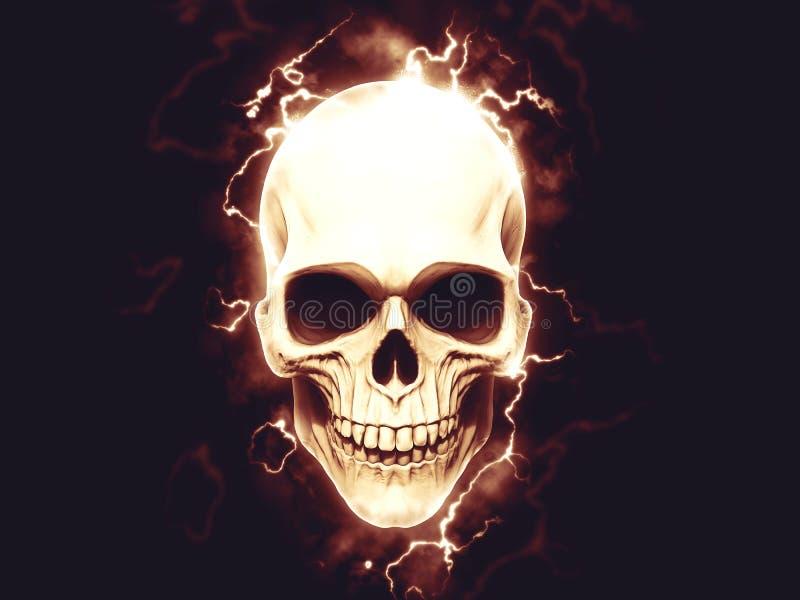 Electrifying skull with halo stock illustration