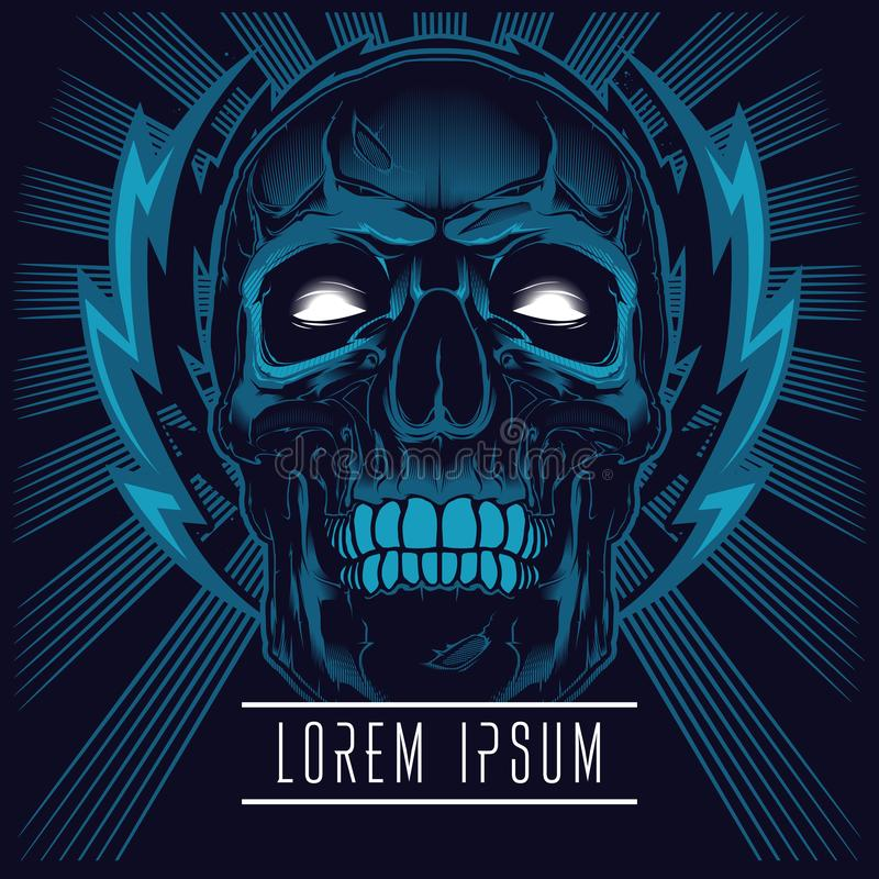 Electrifying skull . T-shirt graphic stock illustration