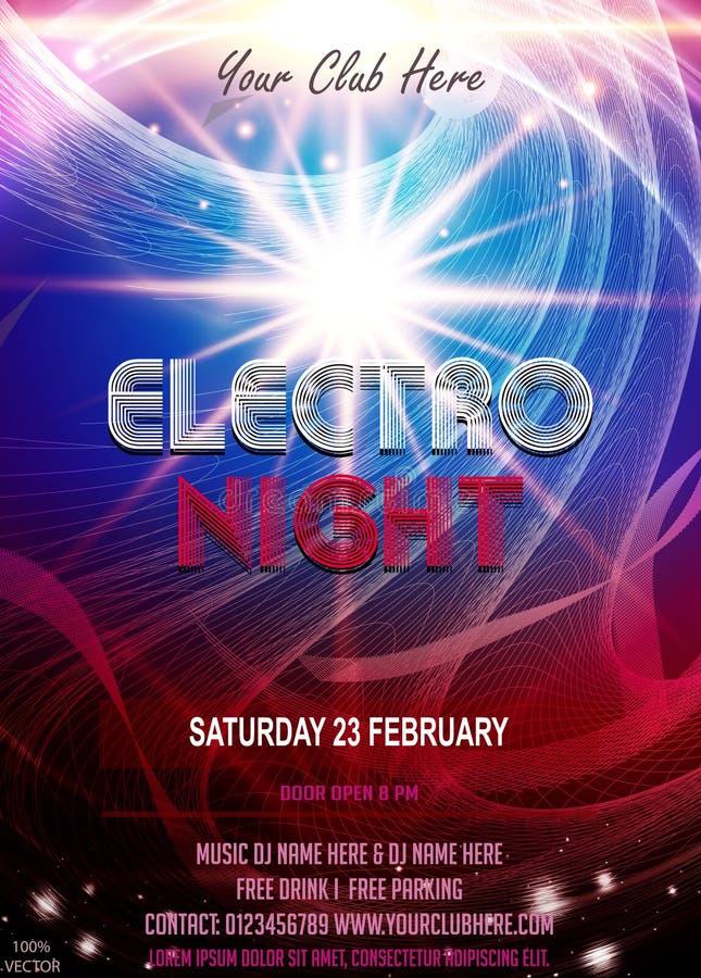 Electro плакат летчика партии ночи Футуристический шаблон дизайна рогульки клуба бесплатная иллюстрация